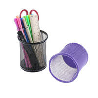 Wholesale Iron Stocking Holders - Wholesale- 1PC Metal Round Iron Net Cosmetic Brushes Pencil Pen Holders Stationery Container Office Supplies Black Red Purple Blue