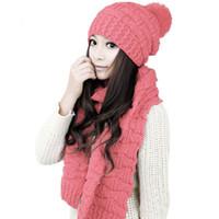 kaput pembe toptan satış-Kadın Kış Şapka ve Eşarp Seti tığ örgü tıknaz Örme Şapka beanies Kadın Kadın Ponpon Bonnet Kalın Sıcak Kayak Kap pembe