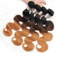 Wholesale 1b 27 Hair - Brazilian Body Wave Human Hair Weaves 1b 4 27 3 Tone Ombre Color Remy Hair Extensions No Shedding No Tangle Can Be Dyed