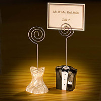 Wholesale place cards holders resale online - Pairs Wedding and Party decoration gift of Bride and Groom Place Card Holder For Photo holder and guest card holder no cards