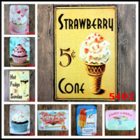 """Wholesale food art pictures - 40Styles Fast Food 11.81""""x7.87"""" Retro Metal Signs Tin Painting Home Decor Posters Crafts Supplies Wall Art Pictures Wall Decor"""