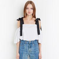 schulhemd weiße bluse großhandel-Flare / Bell-Hülsen-Frauen Blusen Off-Schulter Kurzarm Bogen Panelled Schärpen weiß Schule Stil T-Shirt