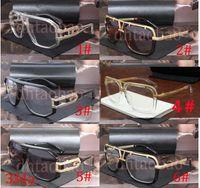 augenverschluss linse groihandel-Moq = 5 Stück Unisex Sonnenbrillen Mode Sonnenbrillen Vintage-Schutzbrille-Gläser Tide Metallrahmen über große Linse Rahmen Brille 6 Farben Versand