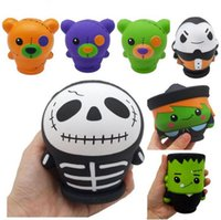 Wholesale Halloween Jumbo Squishy Pumpkin The Skull Man Witch Vampire Green Zombie Scented Squishies Slow Rising Bread Kawayi Depression Kids Toys