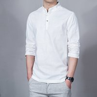 Wholesale Traditional Chinese Cotton Shirt - 2017 spring summer Men's Linen Cotton Blended Shirt Mandarin Collar Breathable Comfy Traditional Chinese Style Popover Henley