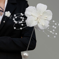 blumenbrosche für hochzeitsanzug großhandel-10 teile / los Braut Boutonniere Kreative DIY Hochzeit Blumen Brautjungfer Schwester Corsage Bräutigam Anzug Brosche Perle Tuch Blumen Corsage