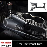 Wholesale Gear Decor - Carbon Fiber Center Console Gear Shift Panel Cover Trim Interior Decor For Ford Mustang 2015-2017 Water Cup Holder Frame Decoration
