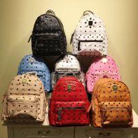 Wholesale leather knapsack women - Wholesale Punk style Rivet Backpack Fashion Men Women Cheap Knapsack Korean Stylish Shoulder Bag Brand Designer Bag High-end PU School Bag