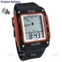 konuşan saatler toptan satış-Siyah ve Turuncu Renkli, Kör ve Yaşlı Elektronik Dijital Spor Saatleri İçin İtalyanca Konuşan Saat 829TI-O