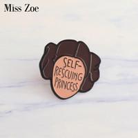 фигурка принцесс оптовых-Мисс Зоя самоспасение принцесса эмаль pin Leia броши подарок для женщин феминизм иконки Pin значок кнопки отворотом pin для одежды cap сумка