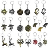 Wholesale metal dragon keychain resale online - Game of Thrones Nine Family Key Pendant Stark Targaryen Symbol Keychain Jon Snow Targaryen Blood and fire lion dragon Key rings Dropshipping