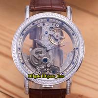 relógio double tourbillon venda por atacado-Golden Bridge Esqueleto Transparente Branco Dial Automático Tourbillon Mens Watch Caso De Prata Duplo Diamante Bisel Relógios de Alta Qualidade