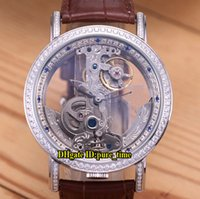 reloj dorado para hombre al por mayor-Golden Bridge Skeleton Blanco transparente Dial Tourbillon automático Reloj para hombre Caja de plata Doble diamante Bisel Relojes de alta calidad