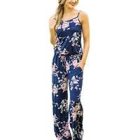 c0301d724bb Floral Print Summer Jumpsuit Women Sexy Long Tunic Wide Leg Jumpsuit Casual  Sleeveless Romper Overalls Plus Size Jumpsuits 2018