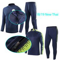 sudor al por mayor-Chándal de fútbol traje de entrenamiento Manchester City 18 19 chándales de hombre Jogging de deporte tops pantalones Chaqueta de fútbol Sudadera de fútbol