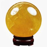 bolas de cristales de feng shui al por mayor-150MM + ARENA Natural Citrino Calcita Cuarzo Cristal Esfera Bola Sanación Gemston