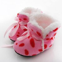 toddler ankle socks 2018 - Wholesale- Cute Toddler Kids Fleece Fur Snow Boots Laced Baby Shoes Winter Ankle Socks A63