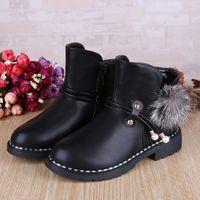Wholesale Hair Fringes - 2017 winter new girls plus velvet shoes large children's shoes red side zipper hair ball short boots snow boots
