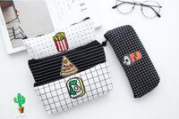 lápis lindos venda por atacado-Belo design estudante caneta saco escola lápis caso 4 stylr delicado saco de lápis de lona agradável presente das crianças frete grátis