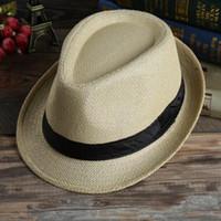 Wholesale linen boys cap - Men Women Panama Straw Hats Fedora Stingy Brim Hats Soft Vogue For 7 Colors Summer Sun Beach Caps Linen Jazz Straw Cap Children Caps