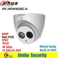 micrófono corporal al por mayor-Cámara IP Dahua IPC-HDW4636C-A 6MP Cuerpo de metal H.265 Cámara incorporada MIC IR50m IP67 IK10 Domo No POE Detección inteligente