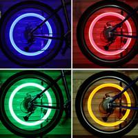 flash habló al por mayor-1Pair LED Rueda de Bicicleta Neumático Válvula Luz Efecto de Luciérnaga Ciclismo Lámpara de Destello 4Color Bicicleta habló Seguro Advierta Accesorios de Bicicleta Ligera