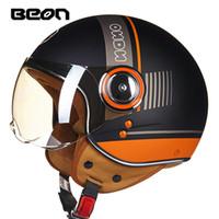 beon capacete novo venda por atacado-Novas cores BEON rosto aberto 3/4 da motocicleta Capacete Casco Capacete Jet Retro Vintage scooter capacete