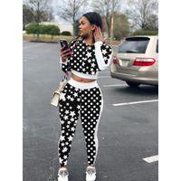 kadınlar için yeni moda pantolon toptan satış-Sonbahar Kadınlar Yeni Moda Yıldız Baskılı Rahat Kapşonlu Tasarımcı Eşofman Iki Parçalı Set Kıyafet Eşofman S-2XL