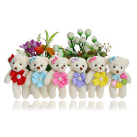 Wholesale Teddy Bear Wedding Decorations - Flower Accessory Colorful Kid Children Plush Toys MINI 12CM Baby Girls Toys For Wedding Party Home decorations Dolls