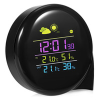 Wholesale digital wireless weather station - Weather Station Alarm Clock Wireless Thermometer Clock Indoor Outdoor Temperature Humidity Monitor Clock With Remote Sensor DDA705