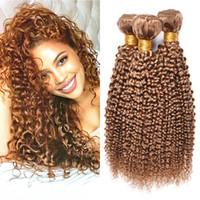 bakire brezilya saçlı bal sarışın toptan satış-Brezilyalı Bal Sarışın İnsan Saç 3 Demetleri Sapıkça Kıvırcık Malezya Perulu 27 # Saf Renk Kıvırcık Virgin İnsan Saç Dokuma Uzantıları