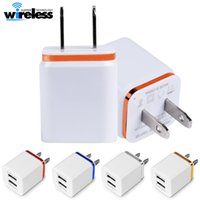Wholesale wall phone chargers - Universal EU US 2 Ports USB Wall Charger Travel Adapter 5V 2.1A for iPhone Samsung smart phones