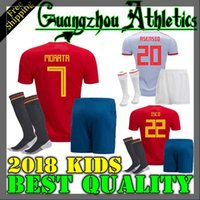 Wholesale kids shirts sale - Spain kids kit home Away Soccer Jersey 2018 world cup Spain home soccer shirt 2018 MORATA ISCO ASENSIO RAMOS PIQUE Football uniforms sales
