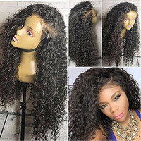 Wholesale Indian Deep Curly Hair Wig - Lace Front Wigs water wave Full Lace Wigs deep curly Baby Hair Brazilian Bleach Knots Unprocessed 100% Virgin Human Hair of Qtfn