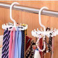 Wholesale rotating clothes rack online - Practical quot Plastic Colors Tie Rack Closets Rotating Hook Holder Belts Scarves Hanger Clothing Organizer