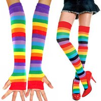 Wholesale thigh high socks sales - One Pair Women Girls Colorful Striped Rainbow Knitted Thigh-high Long Stockings and Fingerless Gloves Hot Sale SH093