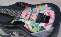 e-gitarre rosa großhandel-Benutzerdefinierte 24 Bünde 77FP2 Steve Vai Blumenmuster E-Gitarre Grüne Rebe Griffbrett Inlay, Black Floyd Rose Tremolo, HSH Rosa Pickups