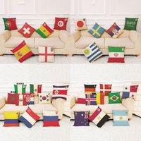 Wholesale Flax Weaving - Football World Cup National flag pillowcase Top 32 countries flax pillow case for Bar Club souvenir good quality 150pcs YYA1124