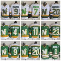 ingrosso maglie del nord del minnesota-CCM Minnesota North Stars Hockey 11 JP PARISE 4 Craig Hartsburg 1 Gump Worsley 9 Mike Modano 20 Dino Ciccarelli Maglie cucite