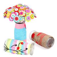 blumenstrauß spielzeug diy großhandel-Kind DIY Handgemachte Künstliche Taste Blumenstrauß Puzzle Handwerk Pädagogisches Spielzeug Home Party Dekoration