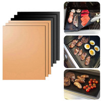 Wholesale chocolate panning online - Non Stick PTFE CM CM Black Copper BBQ Gas Grill Barbecue Mat Reusable Cover Microwave Mats for Cooking Baking