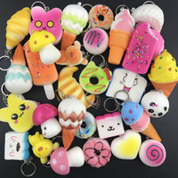 Wholesale squishy keychains - Random 10pcs Squishy Toys Cream Scented Cute Keychains Lanyards Slow Rising Kawaii Simulation Lovely Soft Food Squishies Phone Straps