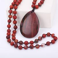ingrosso pietra di gemma di diaspro-Nuovo arrivo Agate naturali Gem Stone Jewelry Lunga collana Maglione catena Red Jasper Pendenti Collane per le donne Ragazza amante