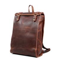 mochilas personalizadas al por mayor-Burst nuevo bolso para hombre retro bolso de hombro para hombre bolsos para hombre personalizados hecho a mano mochila de cuero de cuero de caballo loco envío gratis
