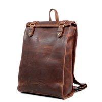 персонализированные рюкзаки для мужчин оптовых-Лопнул новый мужской мешок ретро мужская сумка персонализированные мужские сумки ручной работы кожаный рюкзак crazy horse кожа бесплатная доставка