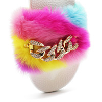 Wholesale flashing plush for sale - Autumn and winter chain flash drill plush slippers Rainbow plush non slip warm slippers cloth slippers