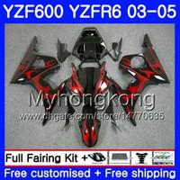 черное красное пламя оптовых-Корпус для YAMAHA Red flame YZF600 YZF R6 03 04 05 YZFR6 03 черный горячий кузов 228hm.8 YZF 600 R 6 YZF-600 YZF-R6 2003 2004 2005 комплект обтекателей