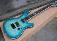 Wholesale ebony flame for sale - Factory Custom String Blue Electric Guitar with Ebony Fretboard Flame Maple Veneer Neck thru body Design Offer Customized
