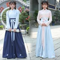 çin milli elbiseleri toptan satış-Yeni Varış Hanfu Ulusal Kostüm Antik Çin Geleneksel Cosplay Çin Halk Dans Elbise Lady Tang Hanedanı Sahne Elbise