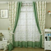 panel de estilo moderno al por mayor-Estilo moderno pequeño floral cortina impresa para la cocina Blackout verde cortinas cortinas de la ventana / paneles / tratamiento decoración del hogar floral